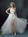 Sheath / Column Wedding Dress Two-in-One Asymmetrical Sweetheart Lace with Bow Appliques Beading Sash / Ribbon