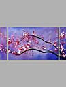 pintura a oleo pintados a mao na lona da arte da parede flores abstratas flor roxa tres painel pronto para pendurar