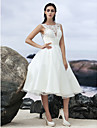 Lanting Bride® A-line Wedding Dress Little White Dresses Knee-length Jewel Organza with Appliques