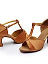 Scarpe da ballo-Personalizzabile-Da donna-Balli latino-americani-Tacco su misura-Raso / Paillette-Nero / Marrone / Argento / Dorato /