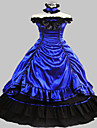 Steampunk®Blue Satin Medieval Dress Gown Long Party Dress Halloween Costume