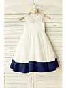 A-line Knee-length Flower Girl Dress - Lace / Satin Short Sleeve