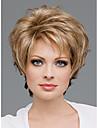 Capless kort hög kvalitet syntetisk gyllene blonda lockiga hår peruker sida bang