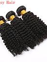 kinky lockigt naturligt svart färg jungfruligt indiskt lockigt hår buntar människohår förlängning
