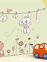 härlig vit kanin klädstreck plan väggdekorationer väggdekor, pvc avtagbar