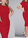 Robes ( Coton melange/Polyester ) Vintage/Sexy/Bodycon/Informel/Soiree Rond a Asymetrique pour Femme