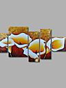 pittura a olio dipinta a mano sul muro su tela astratta beige giglio marrone cinque pannello pronta per essere appesa