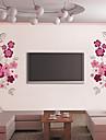 belles fleurs tv contexte paroi plane autocollants de decoration murale, PVC amovible