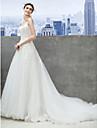 Lanting Bride® A-Şekilli Gelinlik Şapel Kuyruk Kalp Yaka Tül ile Aplik