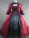 Une Piece/Robes Gothique Steampunk® Cosplay Vetements de Lolita Rouge Mosaique / Vintage Manches longues Long Robe Pour FemmeSatin /
