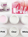 3PCS Mixed Color Sculpture Carving Acrylic Powder Set Nail Polymer Nail Art Tips Builder(30g x3,White,Pink,Clear)