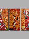 handmålade oljemålning på duk gustav museum abstrakta liv träd tre panel redo att hänga