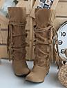 Bottes ( PU , Noir / Marron / Rose / Amande ) Hauteur de semelle compensee - 3-6cm pour Chaussures femme