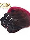 nya 3st / set ombre mänsklig jungfru kort hår väva våt vågig ombre 2 ton färg # 1b / burg 8inch 6 färger tillgängliga
