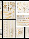 10 Tatouages Autocollants Series bijoux Series de fleur Autres Non Toxique Motif Halloween Grande Taille Bas du Dos Impermeable Metallique