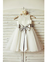 A-line Knee-length Flower Girl Dress - Chiffon / Tulle Sleeveless Scoop with