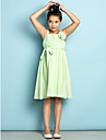 Knee-length Chiffon Junior Bridesmaid Dress - Mini Me A-line Straps with Draping / Flower(s)