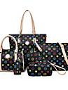 Dam PU Formell / Ledig / Kontor / Shopping Axelremsväska / Stor väska / bag set Vit / Brun / Svart