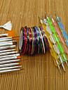 15st negl konst verktyg borstar + 5st negl konst utspridda penna + 30 färg spik striping tejp uppsättning spik gel polska skönhet klistermärken