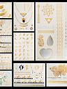 10 - Series bijoux / Series de fleur / Autres - Dore - Motif - 14.5 * 20cm - Tatouages Autocollants - Unbranded -Homme / Femme / Adulte /