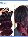 obearbetade 2pieces peruanska jungfru hår förkroppsligar vinkar ombre hår två ton hår color1b / 99j klass 7a människohår