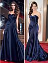 TS Couture Formal Evening Dress - Dark Navy Plus Sizes / Petite Sheath/Column Sweetheart Sweep/Brush Train Satin