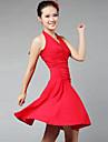 Latin Dans Kjoler & Skjoert Dame Yteevne / Trening Melkefiber Drapert 1 Deler Svart / Roed Latin Dans / Oppvisning Ermeloes Kjoler