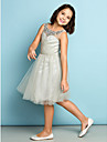 Lanting Bride Knee-length Tulle Junior Bridesmaid Dress - Mini Me A-line Scoop with Crystal Detailing / Criss Cross