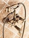 Traditionell Badkar och dusch Handdusch inkluderad with  Keramisk Ventil Två handtag två hål for  Antik mässing , Badkarskran
