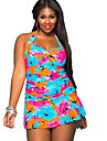 Women\'s Halter One-pieces , Floral / Bandage Wireless Polyester Multi-color