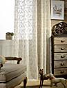 två panel modern blad broderade bomull linne blandning skira gardiner draperier