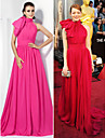 TS Couture Formal Evening Dress - Fuchsia Plus Sizes / Petite A-line / Princess High Neck Court Train Chiffon