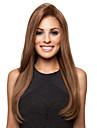 högkvalitativa ganska medel rak brunt hår syntetiska peruker