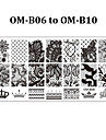 5pcs Rectangular Nail Art Stamping Plates Fashion Design Polish Stamp Print Mould Template (OM-B06 to OM-B10)