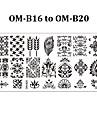 Blomma - Finger / Tå - Andra Dekorationer - av Metall - 5pcs nail plates - styck 12cmX6cm each piece - cm
