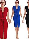 Robes ( Coton melange ) Vintage / Sexy / Bodycon / Informel / Imprime / Soiree Col V a Sans manche pour Femme