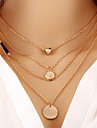 Necklace Gold Plated Layered Necklaces Jewelry Daily / Office & Career Round / Heart Fashion / Adjustable / Sideways Alloy Gold / Silver