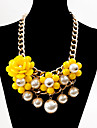 Bohemian Acrylic Chain Pearl Pendant Alloy Necklace(Assorted Color)