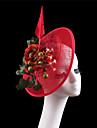 Women Red Sinamay Flowers Headbands Fascinators Feather Wedding Kentucky Derby Hats