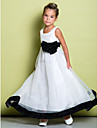 Lanting Bride ® A-line Ankle-length Flower Girl Dress - Organza Sleeveless Scoop with Bow(s)