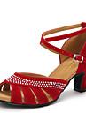 Chaussures de danse ( Noir / Bleu / Rouge ) - Non personnalisable - Talon Large - Velours - Danse latine