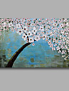 redo att hänga sträckte handmålade oljemålning duk vägg konst abstrakt ljusblå vit blomma en panel