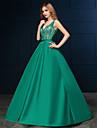 Formeller Abend Kleid - Gruen Satin - A-Linie - Sweep / Pinsel Zug - V-Ausschnitt
