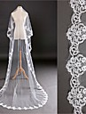 One-tier - Lace Applique Edge Cathedral Veils ( White / Ivory , Applique )
