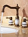 Antique Diffusion large Pivotant with  Soupape ceramique Deux poignees trois trous for  Laiton Antique , Robinet lavabo