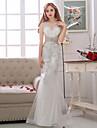 Sereia Vestido de Noiva Longo Decote V Cetim / Tule com Micanga