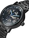 WINNER Bărbați Ceas Schelet ceas mecanic Gravură scobită Mecanism automat Oțel inoxidabil Bandă Luxos Negru Argint