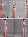 Floor-length Chiffon Bridesmaid Dress Sheath / Column V-neck with Flower(s) / Side Draping / Bandage