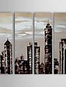 Peint a la main AbstraitModern Quatre Panneaux Toile Peinture a l\'huile Hang-peint For Decoration d\'interieur