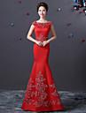 Formeller Abend Kleid - Rot Satin - Meerjungfrau-Linie / Mermaid-Stil - bodenlang - U-Boot-Ausschnitt
